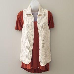 Harold's Ecru Silk Blend Button Up Sweater Vest